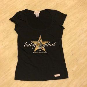 New Baby Phat Crystals Star Logo Printed Tee Black